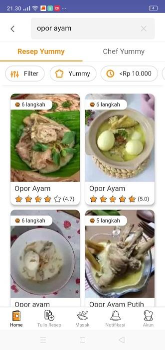 resep masakan rumahan opor ayam, aplikasi yummy, aplikasi resep masakan, sakinahbersamamu.com